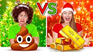 NAUGHTY VS NICE CHRISTMAS PRESENTS CHALLENGE || Cheap VS Expensive Presents By 123 GO! CHALLENGE