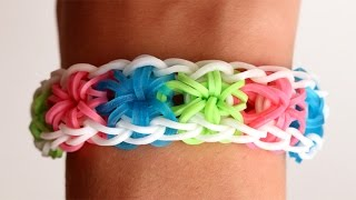 Repeat youtube video Rainbow Loom English - STARBURST - Loom Bands, easy, how to, DIY
