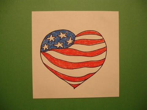 Lets Draw An American Flag Heart Youtube