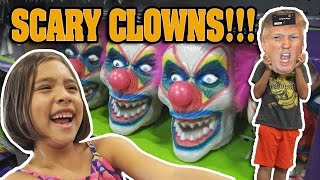 Repeat youtube video SCARY CLOWNS at SPIRIT HALLOWEEN STORE!!! Donald Trump Face Off!