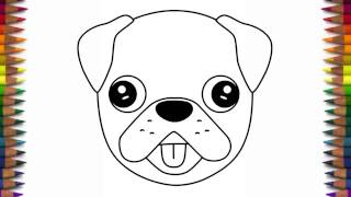 How to draw a cute dog emoji pug for beginners step by ...