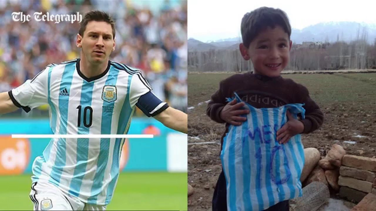 release date: 7c0aa 8d628 Afghan boy with homemade Lionel Messi football shirt filmed playing football