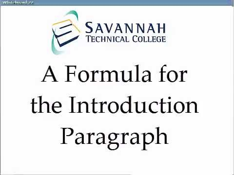Introduction Paragraphs A Simple Formula for Academic Essays - YouTube