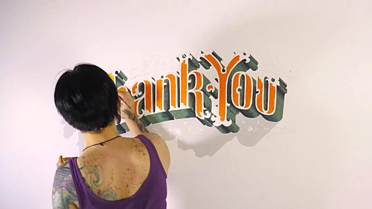 Thank you wall art graffiti