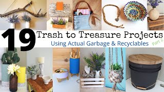 19 Trash To Treasure Projects   Home Decor Using Garbage   Recycle Re-purpose  Diy Up-cycle No Waste