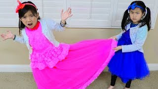 Emma & Jannie Pretend Play Making Princess Dress w Sewing Machine Toy