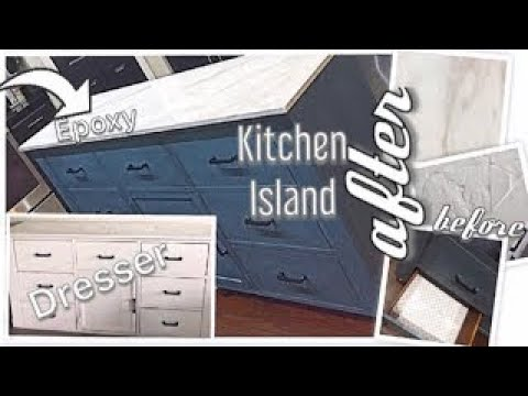 Facebook Marketplace Dresser turned  into a Stunning Kitchen Island | DIY Marble Epoxy
