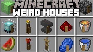 Minecraft WEIRD HOUSE MOD / SPAWN STRANGE HOUSES WITH BLOCKS!! Minecraft