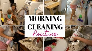 MORNING CLEANING ROUTINE   SAHM TODDLER MOM   CLEANING MOTIVATION