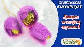 Крокусы из конфет и гофрированной бумаги Мастер Класс Вариант 1(В этом видео мастер-классе мы познакомимся с одним из вариантов изготовления весенних цветов - крокусов...., 2016-03-19T08:22:16.000Z)