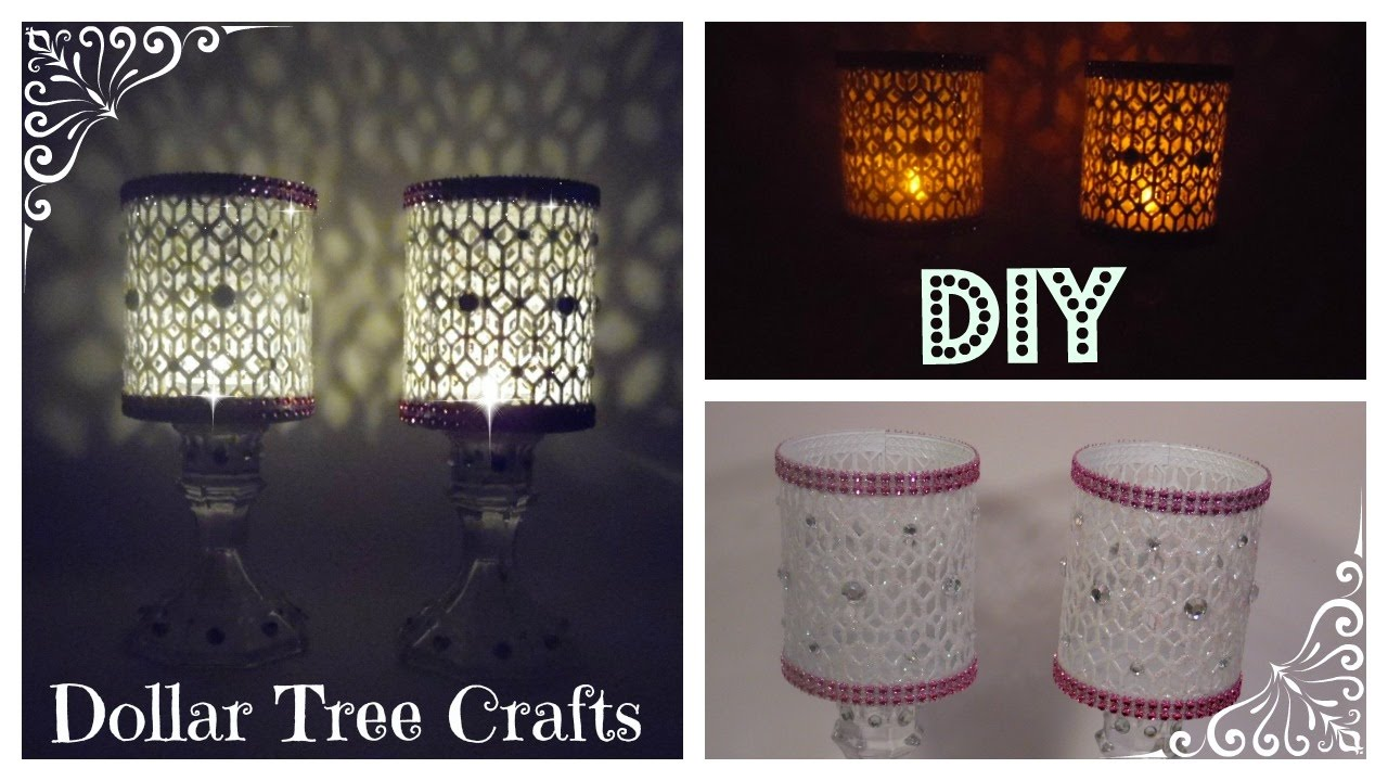 DOLLAR TREE GLITTER BLING CANDLE HOLDERS - YouTube