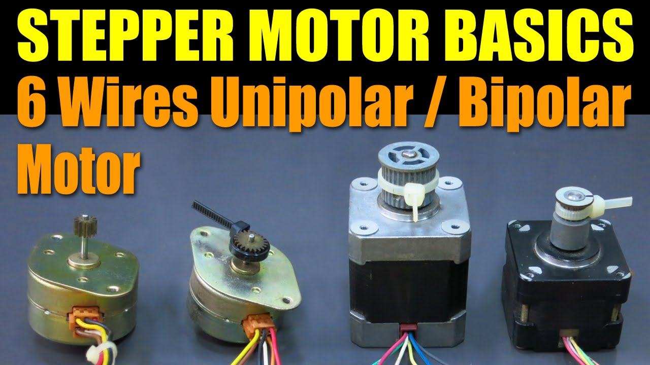stepper motor basics 6 wires unipolar bipolar motor youtube rh youtube com Stepper Motor Connections Stepper Motor Connections