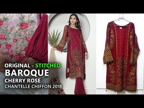Baroque  Chantelle Chiffon Collection 2018 - Stitched Cherry Rose Pakistani Branded Clothes