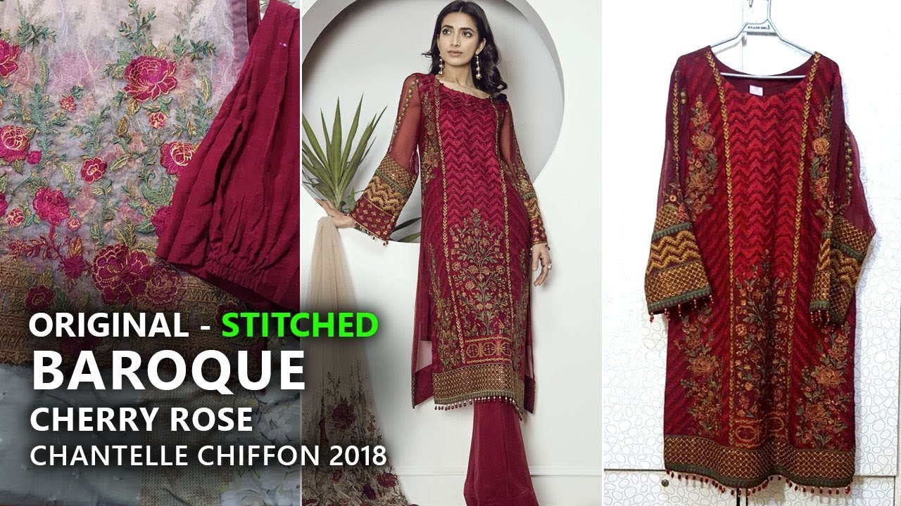 Baroque Chantelle Chiffon Collection 2018 - Stitched Cherry Rose Pakistani  Branded Clothes ce21b4f77