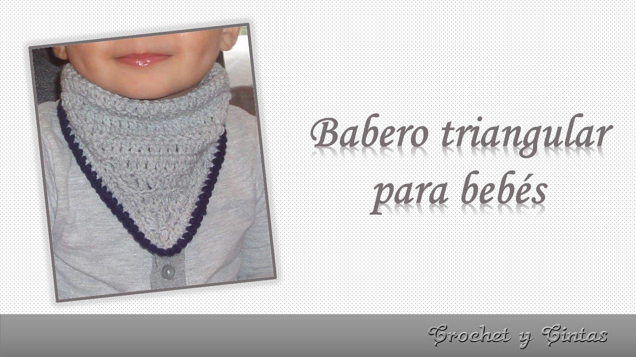 Babero triangular para bebés tejido a crochet - ganchillo - YouTube