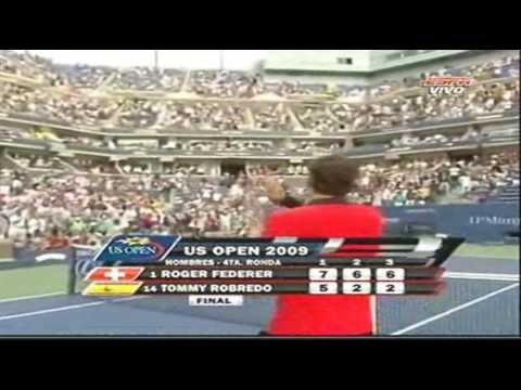 Us open 2009: Roger Federer vs Tommy Robredo. Last Game Of The Match