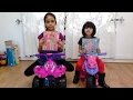 Little Girls Decorate Pink Quad Bike Ride On with Barbie Stickers | Kids Fun Playtime