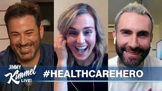 Jimmy Kimmel & Adam Levine Surprise Nurse from Connecticut
