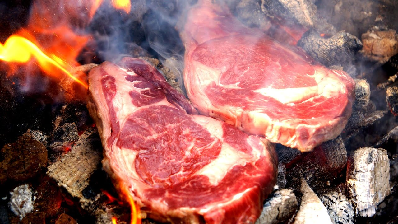 Caveman Style : Wasabi steak grilled caveman style how to grill