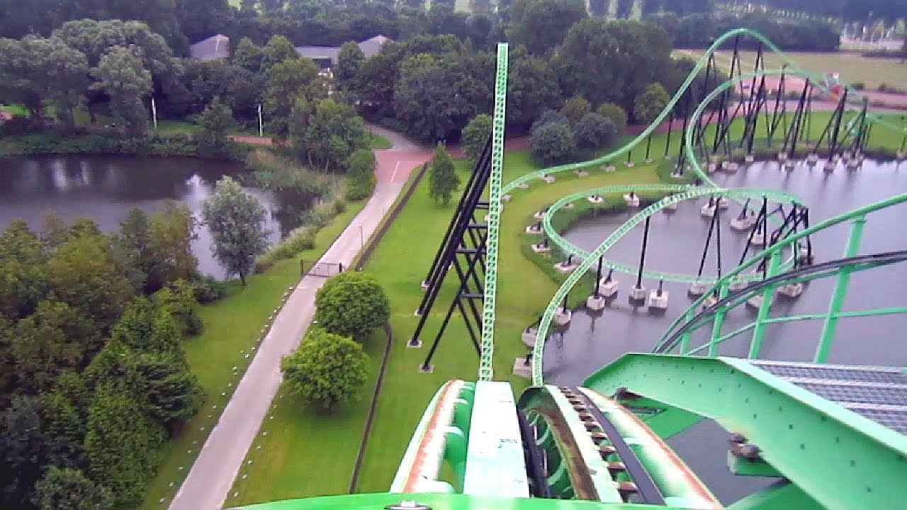 Goliath front seat on-ride HD POV Walibi Holland - YouTube