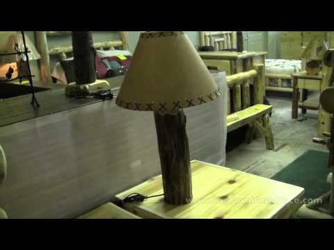 Knobby Cedar Log Table Lamp | Log Cabin Lighting at JHE's Log Furniture Place