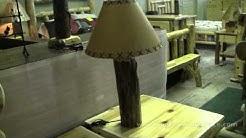 Knobby Cedar Log Table Lamp | Log Cabin Lighting at JHE's Log Furniture Place