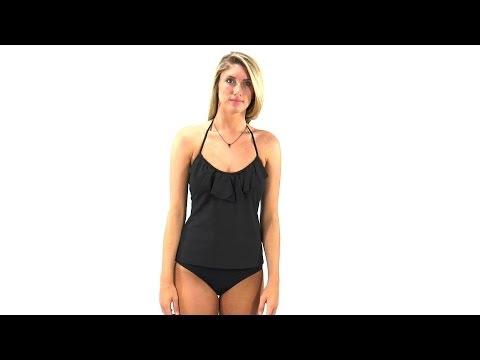 Kenneth Cole Reaction Ruffle-Licious Ruffle Neck Tankini Top | SwimOutlet.com
