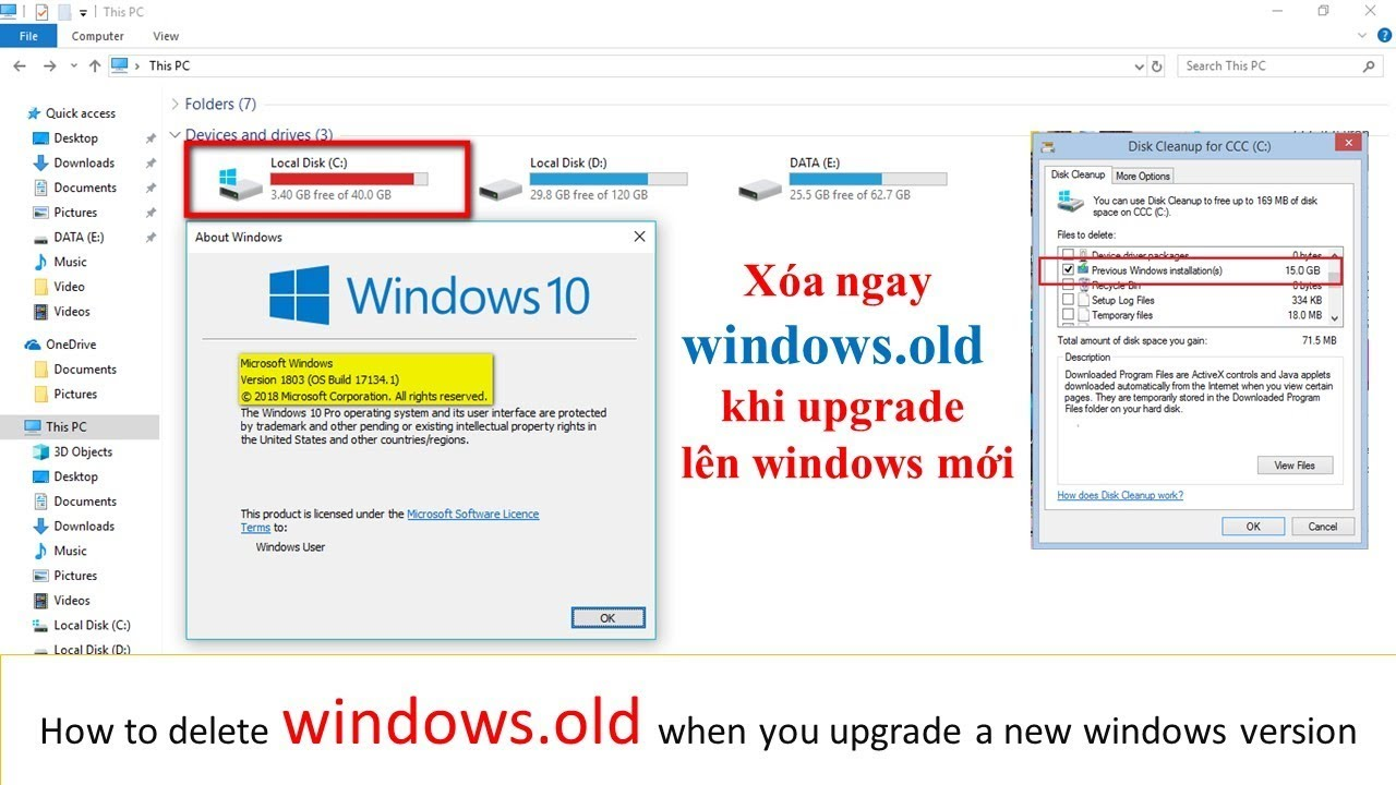 Cách xóa thư mục Windows.old || How To Delete The Windows Old Folder From Windows 10