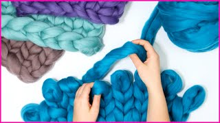 CHUNKY KNIT BLANKET TUTORIAL in 3 Easy Steps Using Your Hands