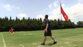 Tampa Bay Buccaneer Patrick Murray kicking soccer ball field goals