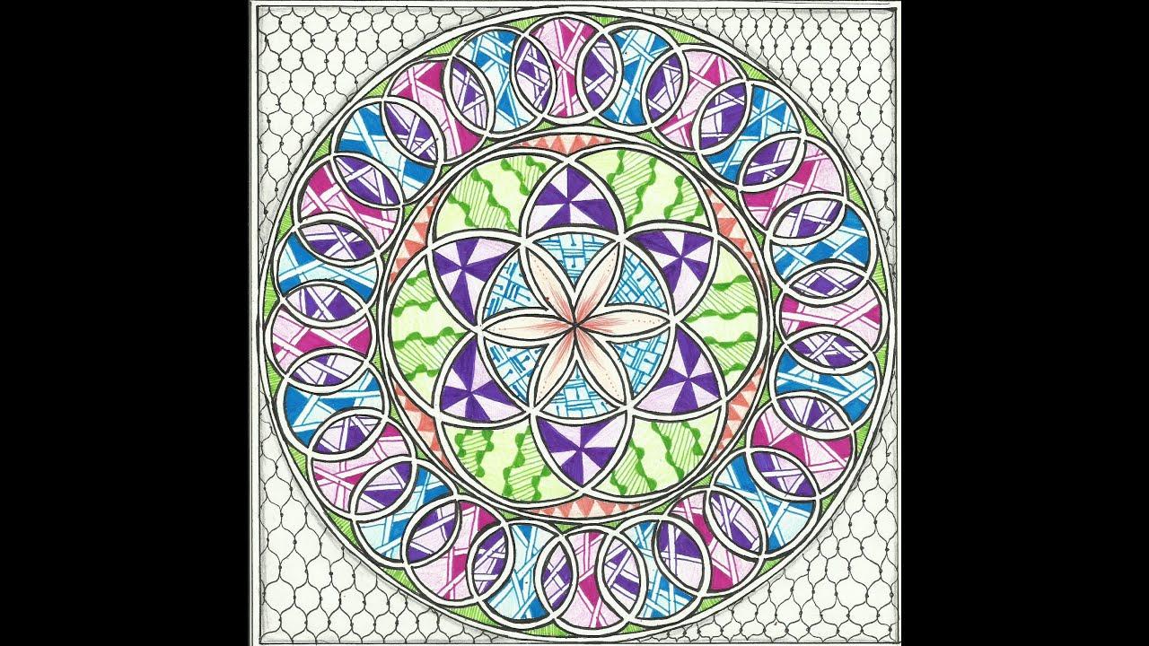 colorful zentangled compass mandala youtube