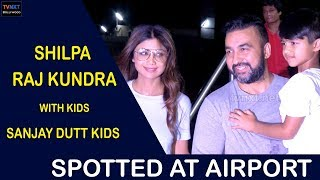 Shilpa Shetty & Raj Kundra With Kids & Sanjay Dutt Kids Spotted At Airport   TVNXT Bollywood
