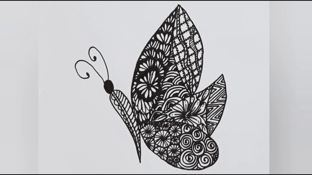 How To Draw Simple Zentangle Butterfly Easy Zentangle Drawing رسم زخرفي زنتانجل فراشة Youtube Youtube Art Zentangle Cool Art
