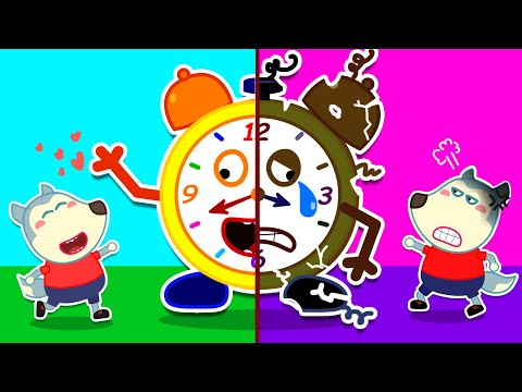 Talking Clock Teaches Baby Wolf Good Habits - Morning Routine for Kids | Wolfoo Channel