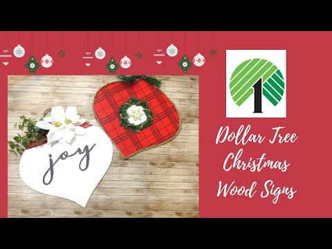 DOLLAR TREE DIY | FARMHOUSE CHRISTMAS DOLLAR TREE WOOD SIGNS | LARGE ORNAMENTS| CHRISTMAS 2019