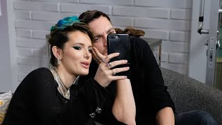 Bella Thorne Promotes I Still See You with Richard Harmon plays with her dog