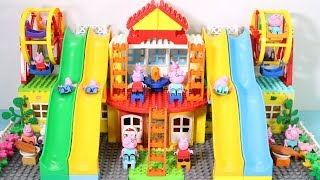 Peppa Pig Family Lego House Creations With Water Slide Toys #2
