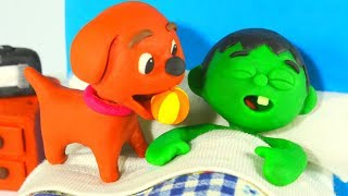 THE DOGGY WANTS TO PLAY WITH THE BALL ❤ SUPERHERO PLAY DOH CARTOONS FOR KIDS