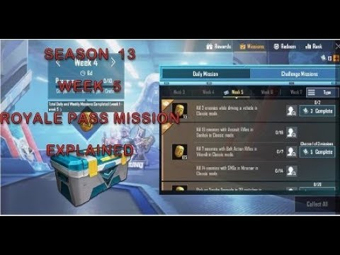 Download SEASON 13 WEEK 5 ROYALE PASS MISSION EXPLAINED || PUBG MOBILE