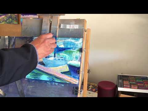 Short time lapse of a landscape painting in soft pastels