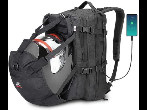 MOTORCYCLE BACKPACK WITH HELMET HOLDER!!!! Helmet BackpacK  Backpack Bag with USB charge Port