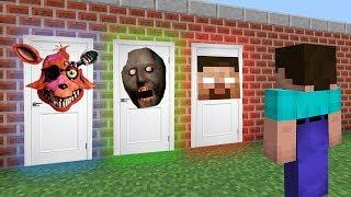 КАКУЮ СТРАШНУЮ ДВЕРЬ ВЫБЕРЕТ НУБ В МАЙНКРАФТ Фокси, Бабушка Гренни и Херобрин в Minecraft