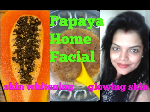 PAPAYA FACIAL at HOME in HINDI, STEP by STEP FRUIT FACIAL for OILY & DRY SKIN, पपीता फेसिअल