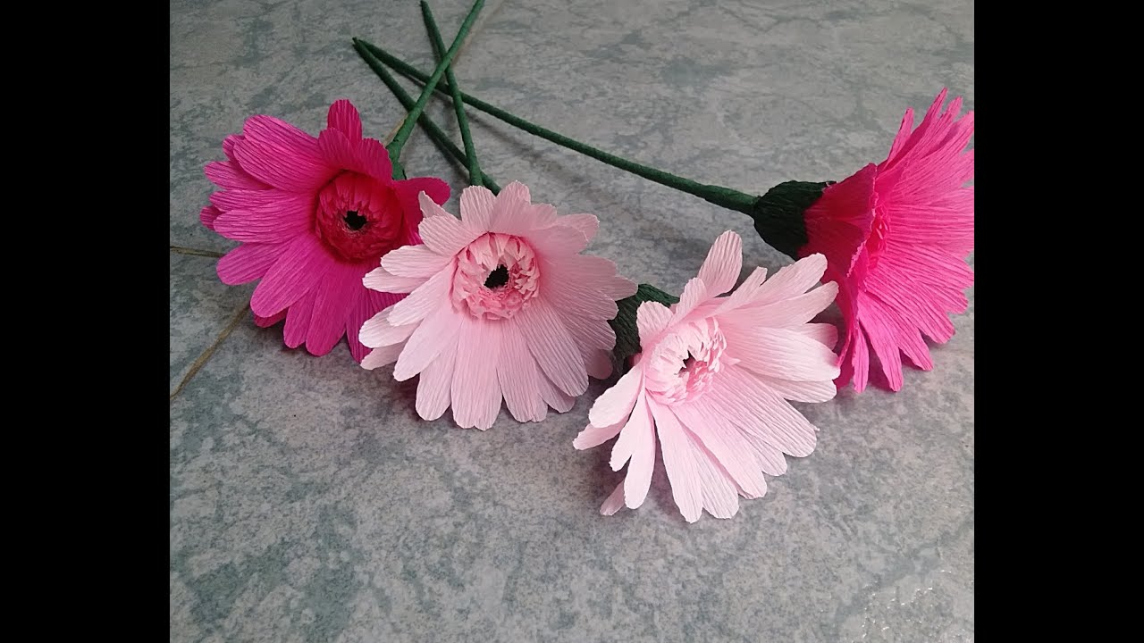 Gerbera paper flower – Làm hoa đồng tiền giấy nhún