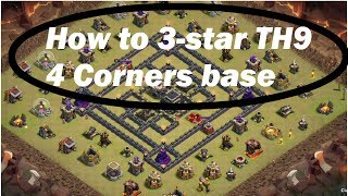 Clash of Clans- How to 3-star Popular TH9 base: 4 corners base