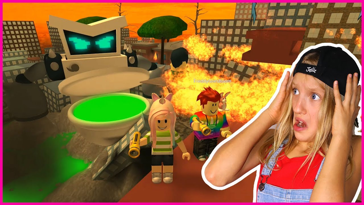 Gamer Girl Roblox Obbys Karina Eaten By Giant Turbo Toilet At School With Freddy Youtube
