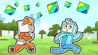 Minecraft Manhunt but LUCKYBLOCKS RAIN from the SKY