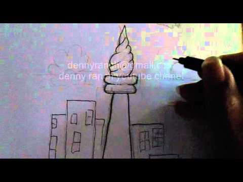 Tutorial Menggambar Kartun Monas Jakarta Youtube