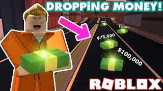 Dropping Tons of Money Everywhere in Jailbreak! - Roblox Jailbreak Nub the Bounty Hunter #13