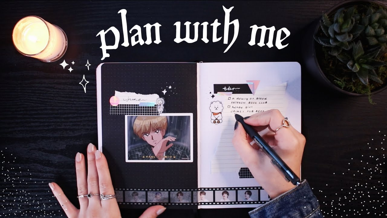 JUNE PLAN WITH ME   reading journal set up (simple BTS theme)